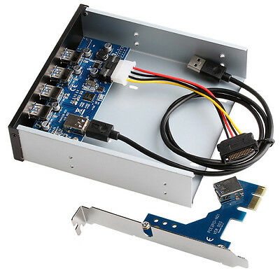 """5.25"""" USB 3.0 PCI Express PCI-E Card Adapter Front Panel Expansion Bay 4 Ports"""