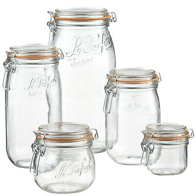 Le Parfait Glass Storage Jars Preserving Pickle Snack Cereal Food Spice Sweet