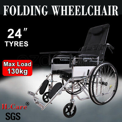 "24"" Folding Wheelchair Foldable Wheel Chair Manual Mobility Seat Belt Brakes NEW"