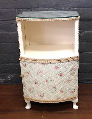 Vintage Bedside Cabinet Cupboard With Floral Print And Glass Covered Top