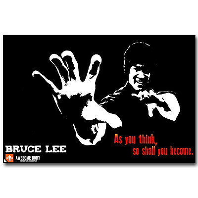 Bruce Lee Kung Fu Motivational Silk Poster 12x18 24x36 inch
