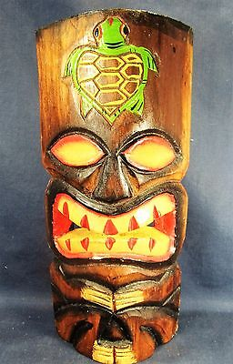 Tiki Mask Hand Carved Wood w/Sea turtle Hanging Wall Decor