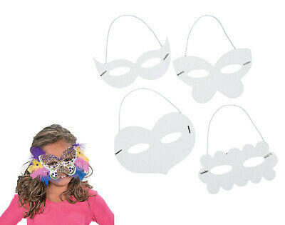 24 Mixed White Colour-In Card Masks for Kids Arts & Crafts | Masks to Decorate
