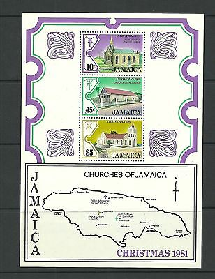 Jamaica Sgms540-Christmas Churches 2Ng Series Minisheet Mnh