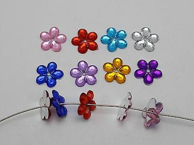 200 Mixed Color Acrylic Flatback Flower Sewing Rhinestone 12mm Sew on Beads
