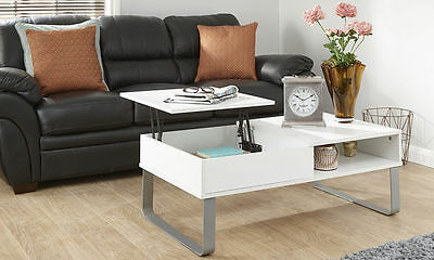 Aspen Modern Designer White Coffee Table Lift Up Top Storage Shelf Wood Quality