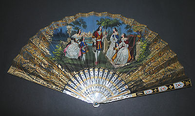 Rare Antique French Mother Of Pearl Gold Inlay Sevres Enamel Figural Scene Fan