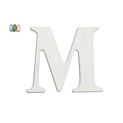 "Babies""R""Us 2091 M White Wooden Personalizable Letter Wall Decor 7.5 Inch BHFO"