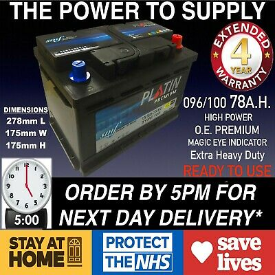 E.U. New Genuine OEM Heavy Duty Car Battery - Type 096 100 78ah 4 YEAR GUARANTEE