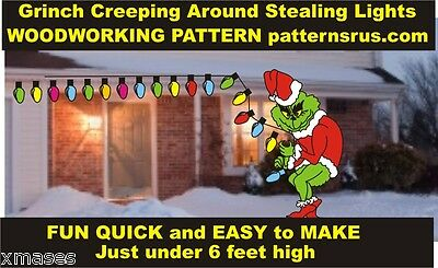 GRINCH CREEPING AROUND STEALING LIGHTS facing left YARD ART PATTERN WOOD WORKING