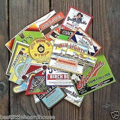 100 Vintage Original Diff HOARDHOUSE SODA BOTTLE Labels 1890s-1950s Unused NOS