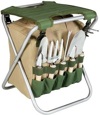 Gardener Folding Seat Olive Green and Tan Chair Detachable W/ Tool Storage Tote