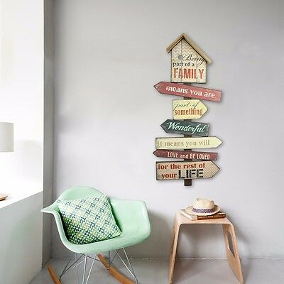 Colorful Family Wooden Wall Decoration Hanging Sign Plaque Vintage Art 79.5CM