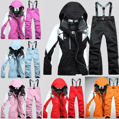 Women's Winter Sports Waterproof Jacket Coat Snowboard Clothing Ski Suit Pants
