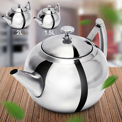 1.5/2L Stainless Steel Teapot Tea Pot Coffee With Tea Leaf Filter Infuser New
