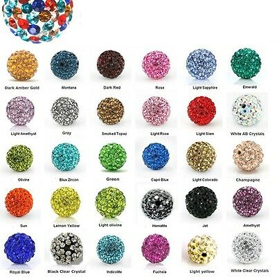 Wholesale 10Pc Chunky Resin Rhinestone Bubblegum Pave Clay Round Ball Beads 14mm