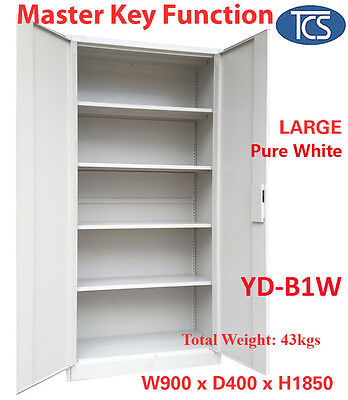 Tcs New White Metal Steel Locker Stationery Cabinet File Cupboard