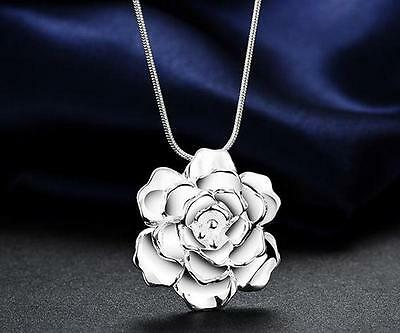 925 sterling Silver Plated Flower Fashion charms pendant women Necklace Jewelry