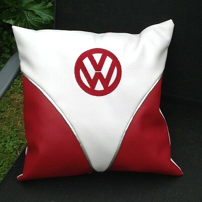"""VW Camper Bus Faux Leather Embroidered Cushion Cover 16"""""""