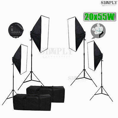 Photography Studio Softbox Light Video Soft box Continuous Lighting Stand Kit AU