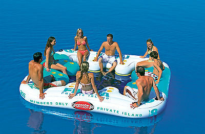 Fiesta 8 Man Inflatable Tube Lounging Floating Island for Pools & Beach + Cooler
