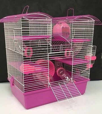 Abby Large Pink & Purple 3 Storey Hamster Cage Small Animal Cage 48 x 46 x 29 cm