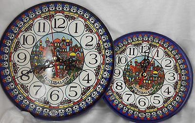 Wall clock Armenian Ceramic Jerusalem Holy Land Judaica Catholic for Home Gift