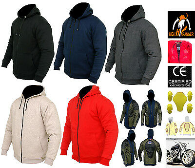 Men Motorbike Water Repellent Hoodies With Fully Protective Lining and CE Armour