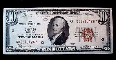 1929 $10 Chicago   Federal Reserve National Currency About Uncirculated
