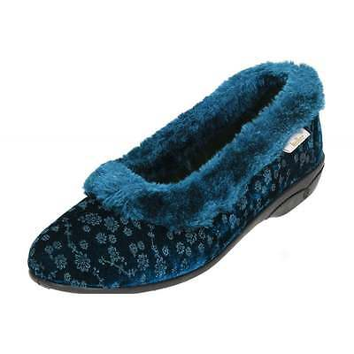 df780bc56862 Dr Keller Ladies Blue Faux Fur Collar Floral Slippers House Shoes Cosy Slip  On