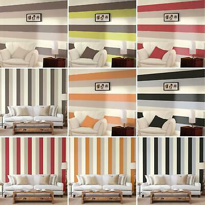 Stripe Wallpaper New Feature Wall Lime, Chocolate, Grey, Orange + More Free P+P