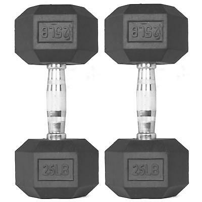 Pair 25 lb Black Rubber Coated Hex Dumbbells Weight Training Set 50 lb Fitness