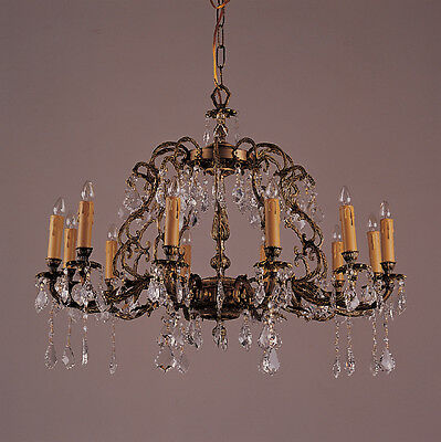 Antique Classic French Brass Solid Brass 12 Light Crystal Chandelier Lighting