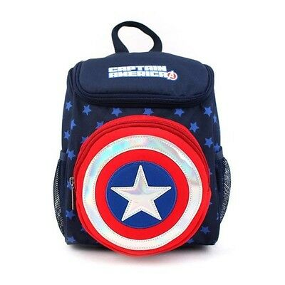 Kids Toddler Baby Captain America Point Bag Safety Harness Backpack - Navy