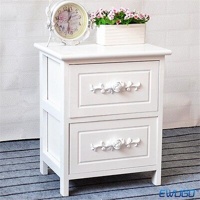 1Pcs Or Pair Of White Chic Bedside Tables With Two Drawers Rose Carved Uk