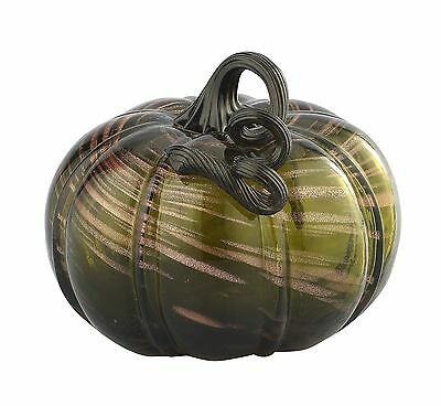 "New 7"" Hand Blown Art Glass Pumpkin Sculpture Fall Dark Green Harvest"