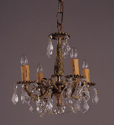 Antique Classic French Brass Solid Brass 4 Light Crystal Chandelier Light