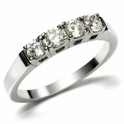 Stainless Steel Engagement Ring Round Four 4 Stone 0.68 CTW CZ Wedding Band 316