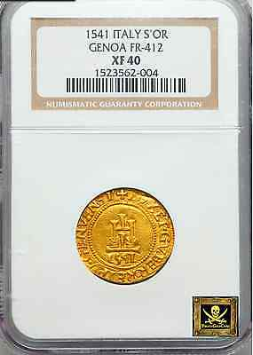 "Italy, Genoa 1541 ""full Date"" Gold Scudo D'oro Ngc 40 Most Coin Undated! Doges"