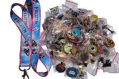 Disney World Pin Trading Lot Lanyard Starter Set Frozen Pink Blue w/ 25 Pins