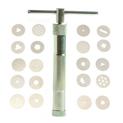 20 Stainless Discs+1 Clay Sugar Fondant Extruder Tool Cake Craft Sculpture Paste