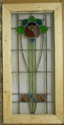 "LARGE OLD ENGLISH LEADED STAINED GLASS WINDOW Sweet Floral 18.75"" x 37.25"""