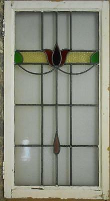 """LARGE OLD ENGLISH LEADED STAINED GLASS WINDOW Nice Floral 20.5"""" x 38.5"""""""