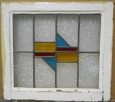 "OLD ENGLISH LEADED STAINED GLASS WINDOW Pretty Geometric 20"" x 18"""