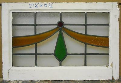 "MID SIZED OLD ENGLISH LEADED STAINED GLASS WINDOW Pretty Swoop 24.5"" x 16.5"""