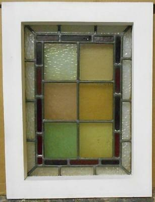 "EDWARDIAN ENGLISH LEADED STAINED GLASS  WINDOW Colorful Squares 14"" x 18.5"""