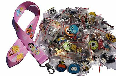 Disney World Pin Trading Lot Lanyard Starter Set Princess Ariel Pink w/ 25 Pins
