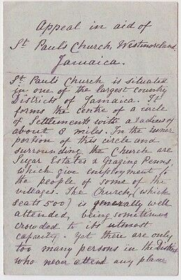 1885 letter from Jamaica appeal in aid of St Paul's church by J A Bowen