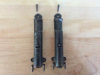 Antique Spring Loaded Door Stop Plunger - set of 2