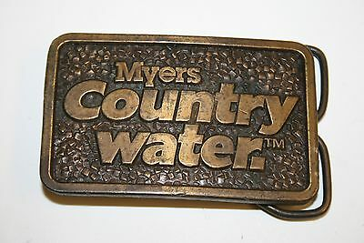 Vintage 1976 Myers Country Water Solid Bergamot Brass Belt Buckle RARE